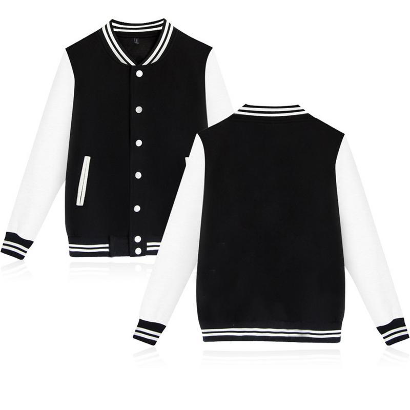 Leisure Baseball Uniforms Outwear Fleece Lined   Jacket   Long Sleeve Korea Student Class Wear Outer   Basic     Jacket   Coat for Men Women