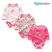 Bodysuit Newborn Girls Clothes Babywear Jumpsuits Clothing-Sets Cotton 3pcs 0-12M Unicorn