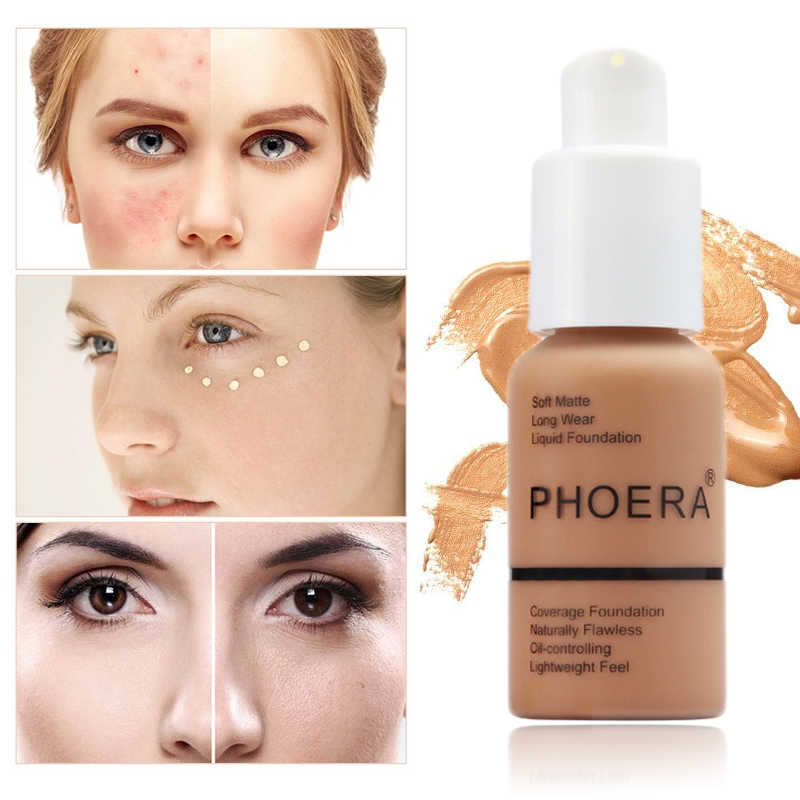 Phoera Vloeibare Foundation Minerale Touch Whitening Concealer Soft Matte Olie-Control Hot Deals Foundation Make-Up TSLM1