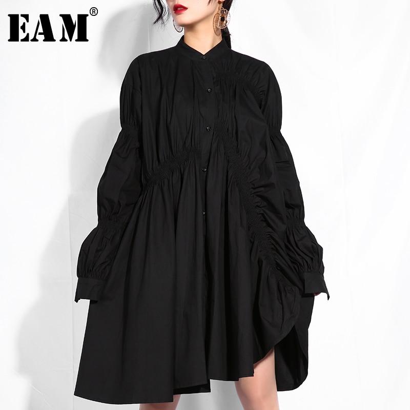[EAM] 2019 New Autumn Winter Stand Collar Long Sleeve Black Pleated Fold Stitch Irregular Big Size Dress Women Fashion Tide JO47