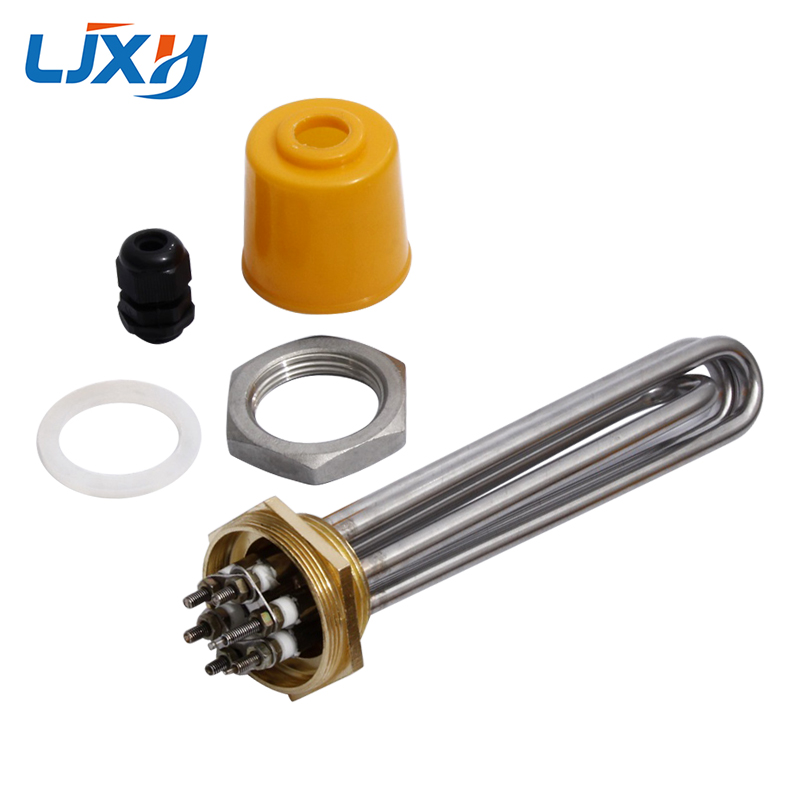 """LJXH DN40 Immersion Water Heater Heating Tube 1.5"""" Thread 220V/380V Power 3KW/4.5KW/6KW/9KW/12KW 304SS with Locknut for Tank"""