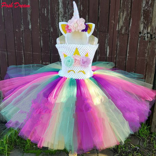 91ae3ae56 POSH DREAM Colorful Rainbow Unicorn Tutu Dress hot pink purple yellow and  teal Unicorn Party Birthday Clothes for Children Girls