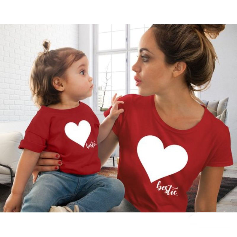 de60ca5b0cc448 Family Matching Outfits Mother And Daughter Clothes mommy and me clothes  Heart Printed Cotton T-Shirt Cute Tops lovely Blouse. US $5.79