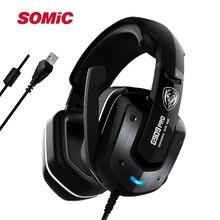 SÔMICA G909PRO PS4 Vibração 7.1 LED USB Gamer Gaming Com Cancelamento de Ruído Fone De Ouvido fone de Ouvido Estéreo Surround de Som Fone de Ouvido com Microfone