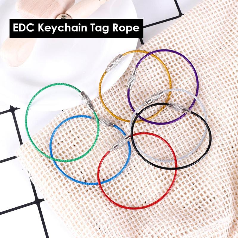 Hand Tool Sets 10pcs 15cm Edc Edc Keychain Tag Rope Stainless Steel Wire Cable Loop Screw Lock Gadget Ring Key Keyring Circle Camp Hanging Tool