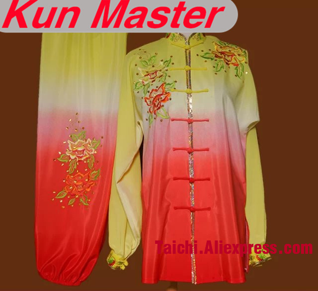 Gradual Change Colors Custom Tai Chi Performance Uniform Embroidery  Martial Art Clothing For Kung Fu Four Colors