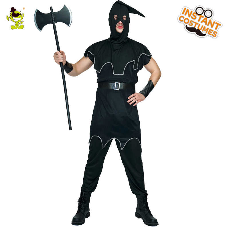 Adult Demon Robe Costume Executioner Mens Halloween Fancy Dress Outfit New