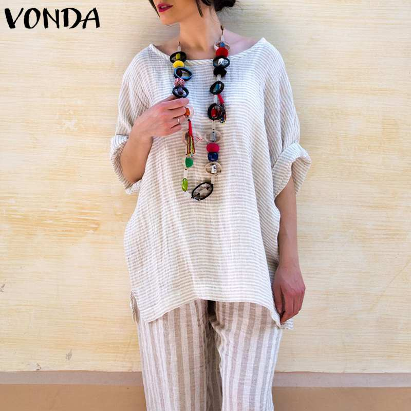 VONDA Women Vintage Striped Blouses 2018 Autumn Elegant Casual Loose Blusas Tops O Neck Batwing Sleeve Split Shirts Plus Size