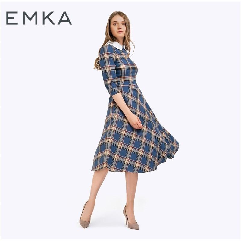 Slim dress plaid open shoulder frill trim plaid dress