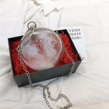 Elegant Round Ball Lady Bridal Wedding Party Bag High Quality Transparent Feather Wallet Japan Korean Style Evening Bags