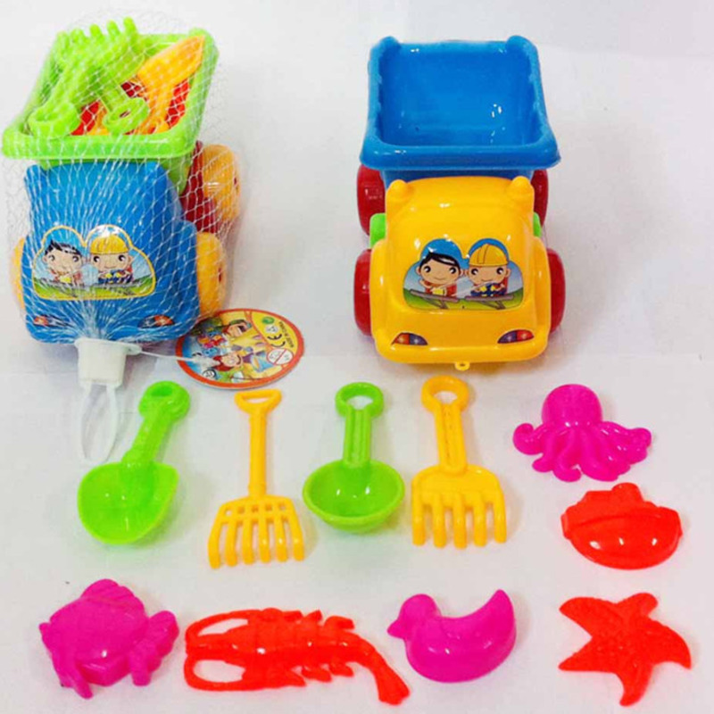 11pcs/set Sand Water Beach Play Toys Set Kids Children Seaside Bucket Shovel Rake Kit Building Sea Horse Molds Funny Tools