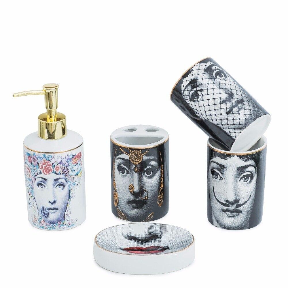Populaire Fornasetti salle de bains ensembles 5 pièces en céramique décoration accessoires distributeur de savon porte-brosse à dents tasse toilette boîte de rangement chaud - 6
