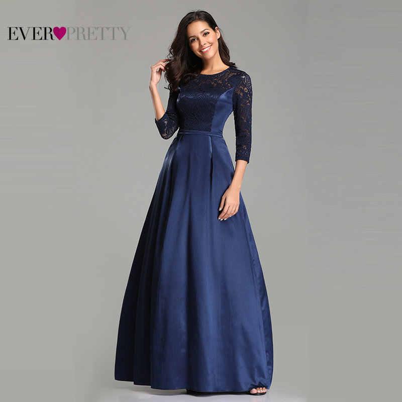 ... Robe De Soiree Ever Pretty EZ07720 Navy Blue A-line Lace Half Sleeve  Satin Evening ... 61fe2e3c06b5