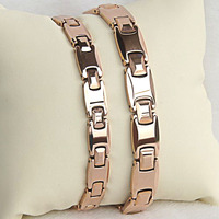New Arrival High Polished Tungsten Carbide Bracelet Rose Gold Plating with Health Black Magnet Stones for Man/Woman 19CM/20CM