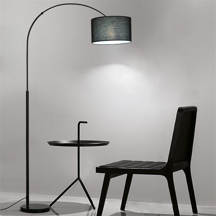 Modern Cloth Shade Loft LED Floor Lamps Standing Lights Living Room Bedroom Bedside Fishing Fixtures