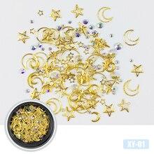HNUIX Mixte Styles Lune Star Nail Glitter Strass Bijoux Charmes Gems Métal Tranche Rivet DIY 3D Dos Plat Art décorations