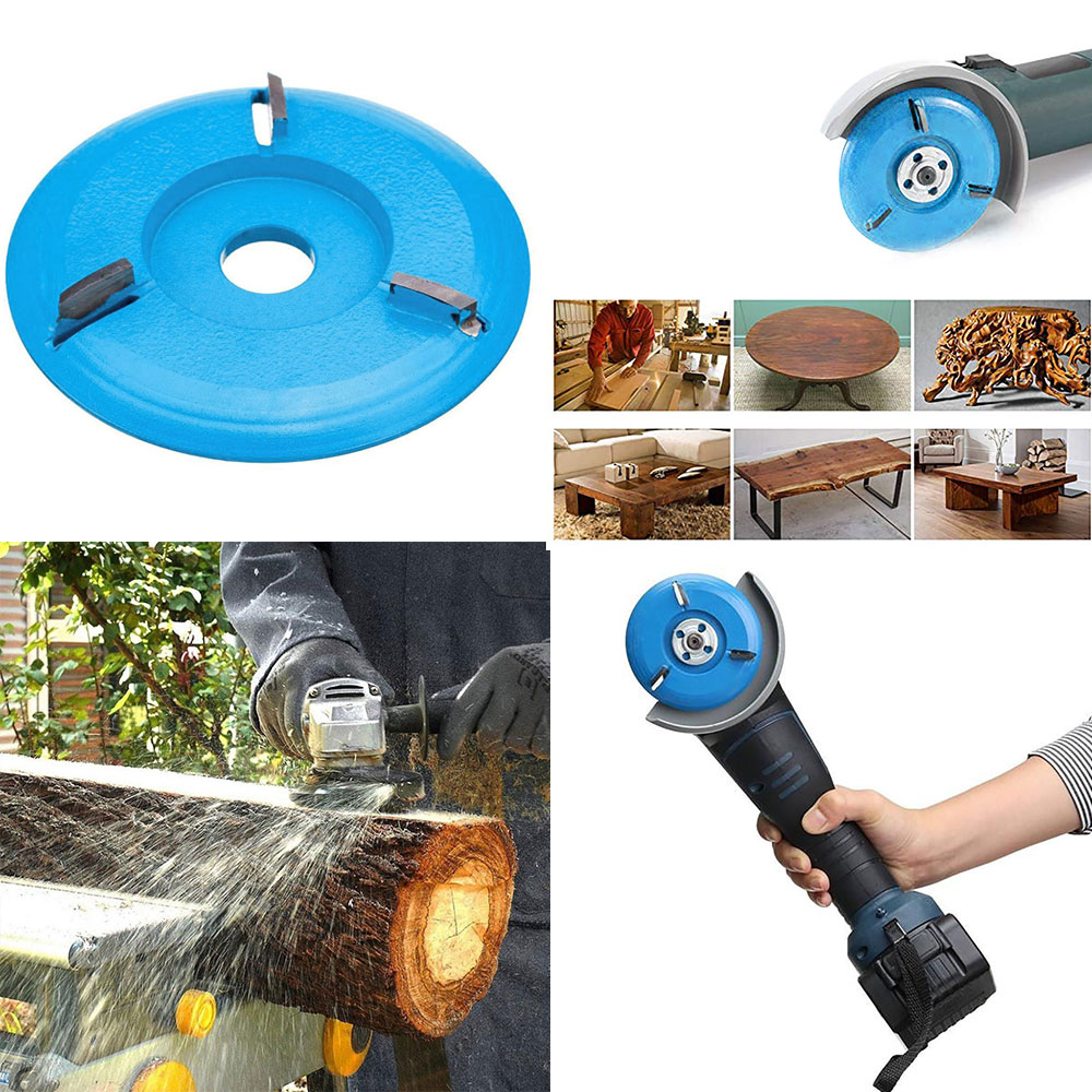 Wood Carving Disc Tool Three Teeth Woodworking Turbo Tea Tray Digging Milling Cutter for 16mm Aperture Angle Grinder