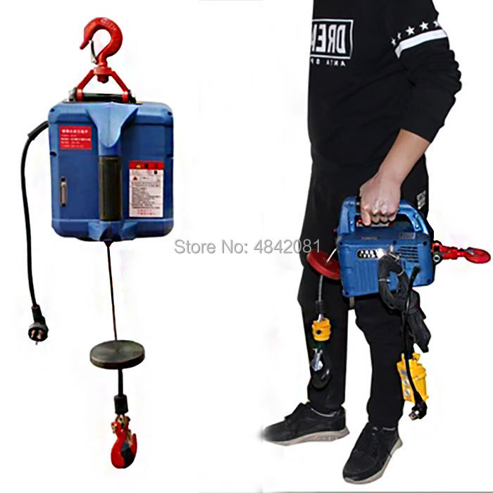 200KG Electric hoist Portable electric hand winch traction block electric steel wire rope lifting hoist towing