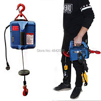 200KG Electric hoist Portable electric hand winch traction block electric steel wire rope lifting hoist towing rope 220V/110V Lifting Tools & Accessories     -