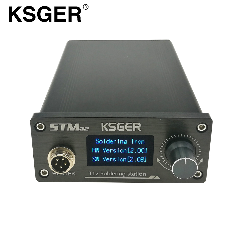 Ksger T12 Stm32 Oled Finished Soldering Station Digital Electronic Temperature Controller V2.01/1.3 Display Cnc Engraving Panel Punctual Timing