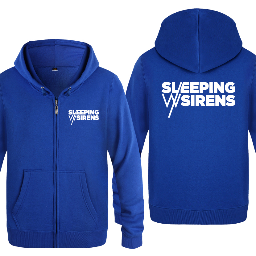 SLEEPING WITH SIRENS Rock Music Sweatshirts Men 2018 Mens Zipper Hooded Fleece Hoodies Cardigans