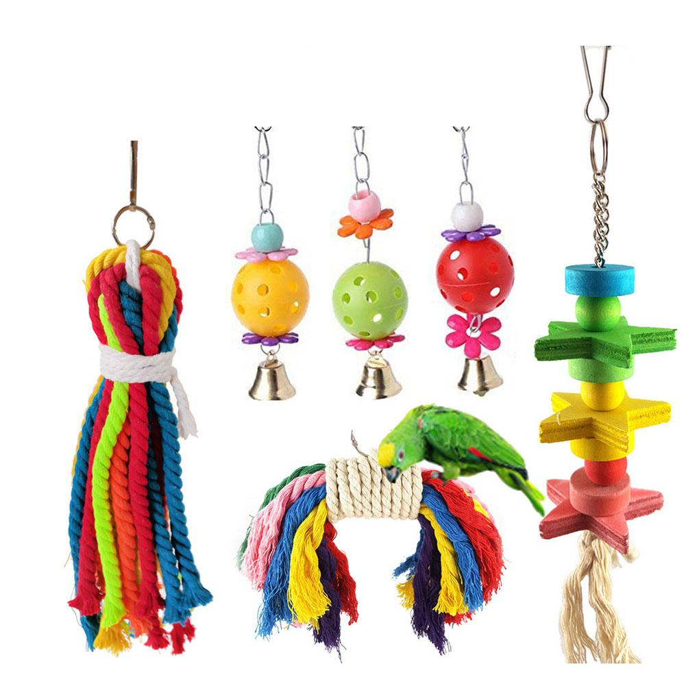 Adeeing 6pcs/set Bell Swing Cage Hanging Toy For Bird Parrot Pet Elegant And Sturdy Package Pet Products