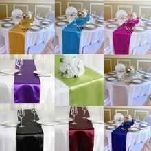Corredor de mesa de satén de 12 pulgadas x 108 pulgadas caminos para mesas de bodas recepción banquete Decoración