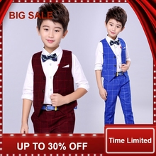 Top Quality Korean Style Baby Boys Plaid Suit for Wedding Comfortable Boys Formal 3Pcs Set Suits with Belt