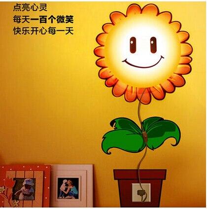 Papier peint 3d mur d'enfants chambre chambre chevet lampe Cartoon lampes applique pour tournesol