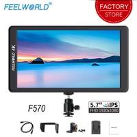Feelworld F570 5,7 дюймов для однообъективной цифровой зеркальной фотокамеры на поле камеры монитор IPS Full HD 1920x1080 4 K HDMI вход для sony Canon Nikon беззеркальн