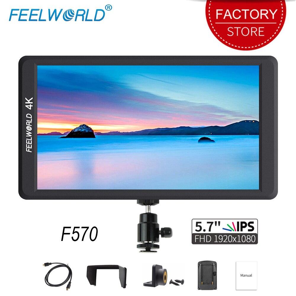 Feelworld F570 5.7 polegada DSLR Na Câmera Campo Monitor IPS Full HD 1920x1080 4 K Entrada HDMI para sony Canon Nikon Câmera Mirrorless