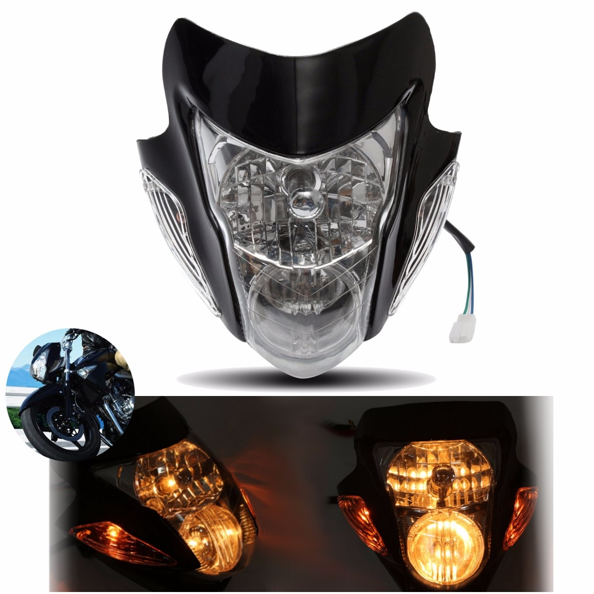 Universal Motorcycle Headlight Hi-Low Beam Head Lamp  For Honda/Yamaha/Suzuki/KTM