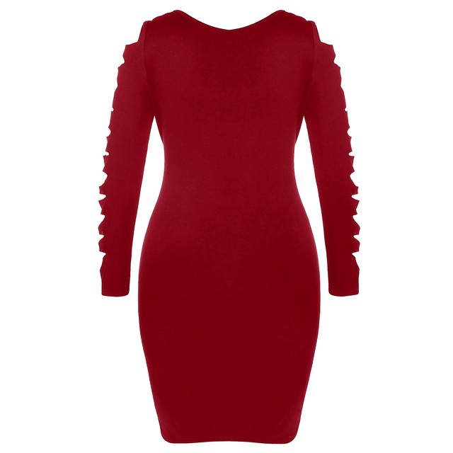 Wipalo Plus Size Sexy Dress Female Autumn Ladder Cut Out Sleeve Ripped Dresses New Solid Square Neck Midi Bodycon Dress Vestidos