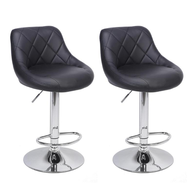 In Quality New 2pcs/set Six-grid Backrest Pu Leather Swivel Bar Chair Stool Height Adjustable Bar Stools Bar Pub Counter Modern Style Superior
