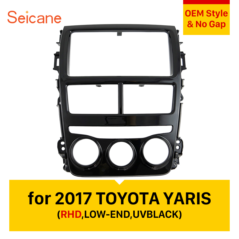 Seicane UV BLACK Car Stereo Fascia Panel For 2017 TOYOTA YARIS (Right Hand Drive, LOW-END) 2DIN Radio Install Frame Seicane UV BLACK Car Stereo Fascia Panel For 2017 TOYOTA YARIS (Right Hand Drive, LOW-END) 2DIN Radio Install Frame