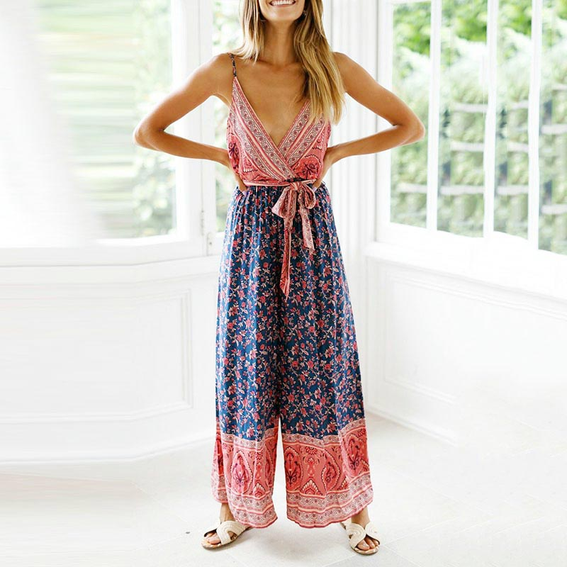 Floral Print   jumpsuits   Women Ladies deep V-Neck Sleeveless Backless boho   Jumpsuit   vogue summer holiday beach overalls Romper