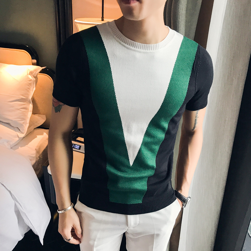 Fashion Summer Contrast Color Splice Short Sleeve Mens Knitting T Shirt Casual T-Shirts Slim Fit 3 Color Streetwear TShirt Homme