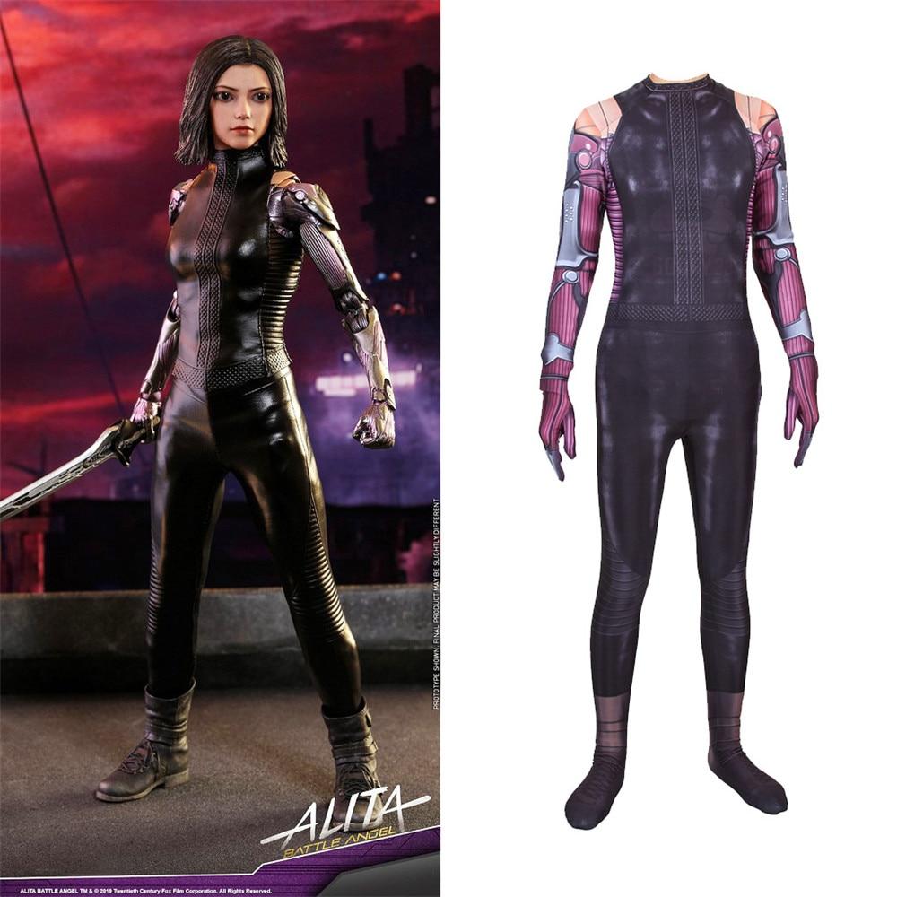 Movie Alita:Battle Angel Jumpsuit Cosplay Costume Women Superhero Printing Bodysuit Zentai Tight Catsuit party Costume