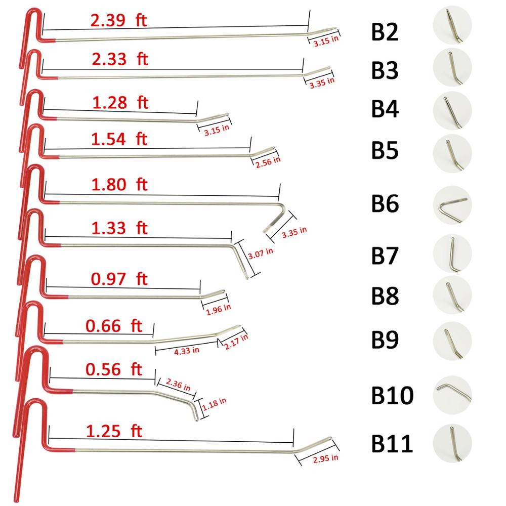 WEYHAA PDR Tools 10pc Steel Rod Hook Tool Kit for Car Dent Paintless Repair Dent Puller Hooks Remove Car Dent Repair Tools in Sheet Metal Tools Set from Automobiles Motorcycles