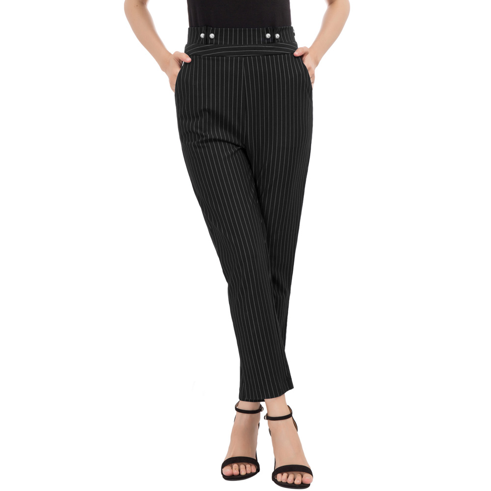 GK S~2XL Women trousers vogue elegant Pinstripe High Waist Faux Pearl Decorated Ankle   Pants     Capri   office work wear pencil   pants