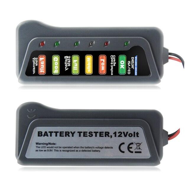12V Digital Battery Alternator Tester with 6 LED Lights Display Battery Testers with Brake Fluid Tester For Car Motorcycle