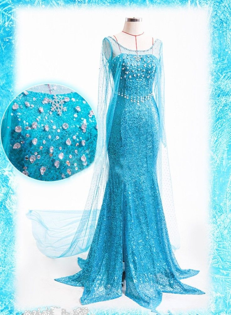 2019 Party Cosplay Elsa Princess Dress Princess  Costume Adult Snow Grow Princess Elsa Halloween Women Dress Swallow Tail Dress