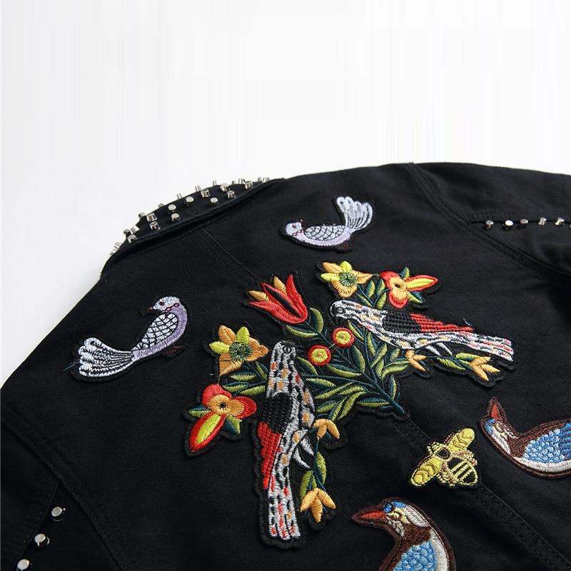 Vestes Motif Manteaux Nouveaux Floral Oiseau Unique Effiloché Broderie Automne De Hommes Abeille Noir 2019 Rivet Black Et Veste Femmes Poitrine Jean iwXTPkuOZ