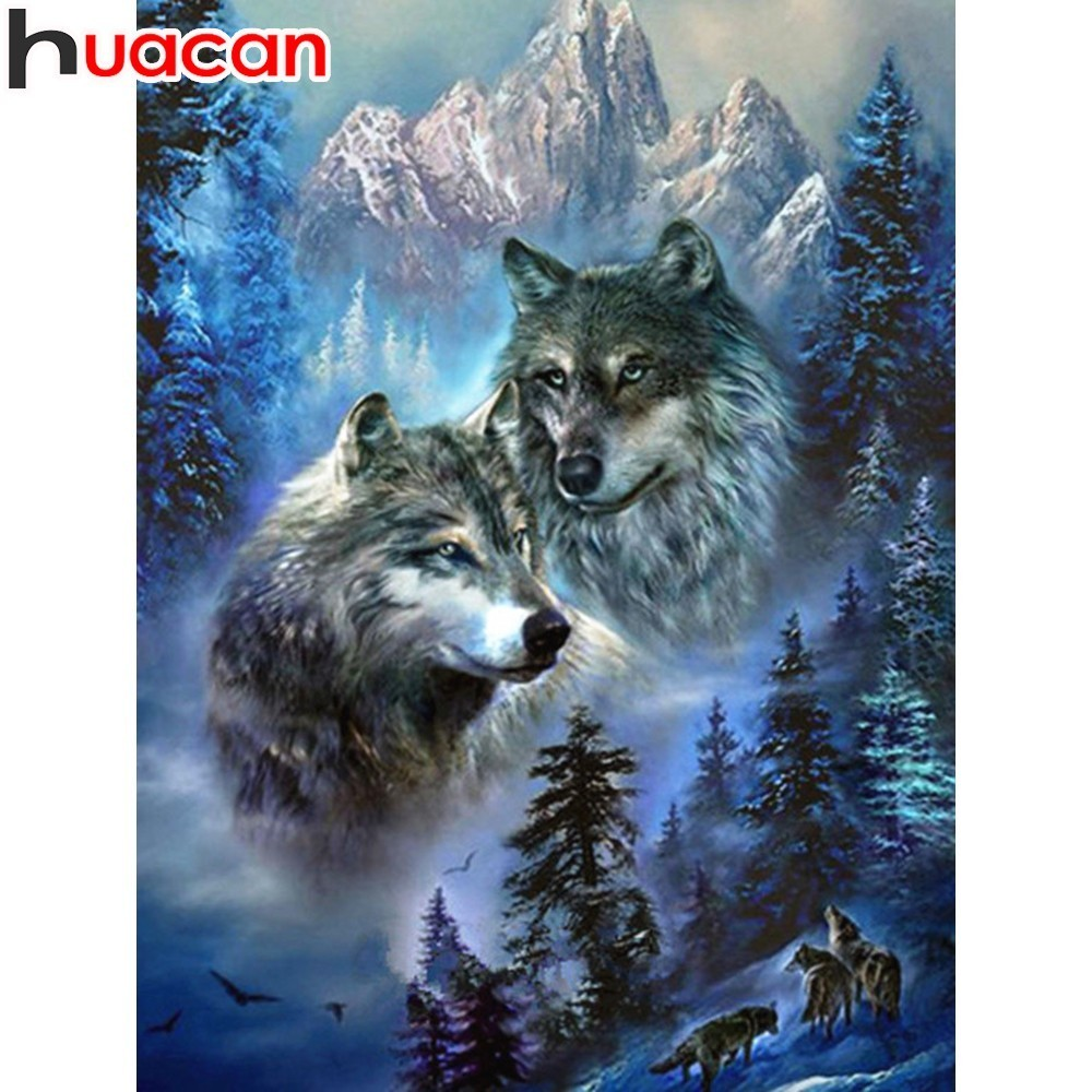 HUACAN Full Dill Square Wolf Diamond Painting Picture Of Rhinestone 5D DIY Diamond Embroidery Mosaic Animal Home Decor Gift  HUACAN Full Dill Square Wolf Diamond Painting Picture Of Rhinestone 5D DIY Diamond Embroidery Mosaic Animal Home Decor Gift