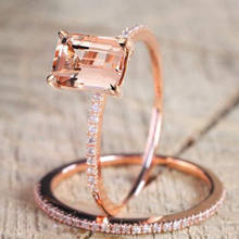 18K Rose Gold Plated White Topaz Wedding Engagement Ring Set For Women(China)