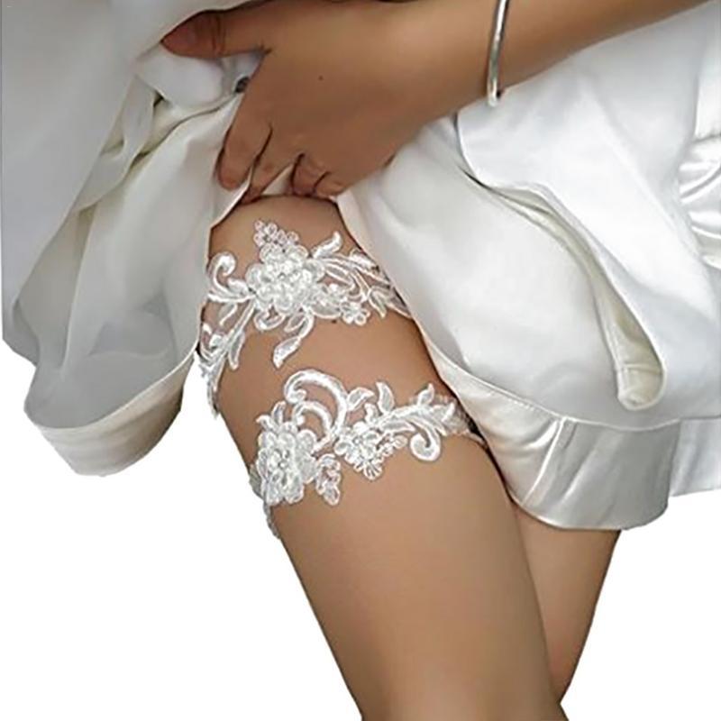 2Pcs Lace Garter Bridal Bow Embellish Belt Leg Ring Rhinestone Jewelry Flower Floral White Lace Wedding Dress Accessory