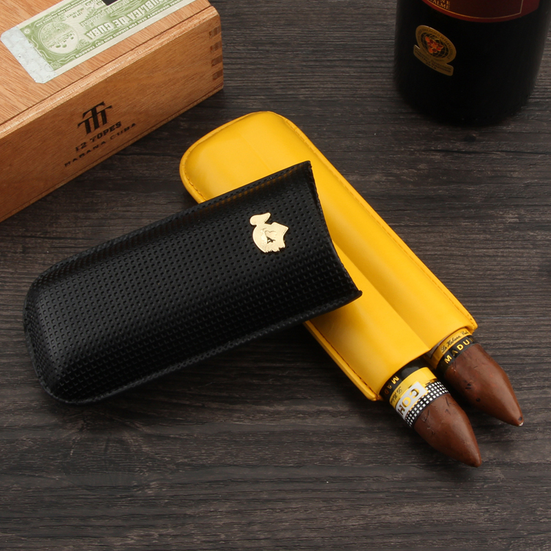 FREE SHIPPING COHIBA Classic Yell&Black Doulbe Tubes Cigar Case For Travel Smoking Cigar