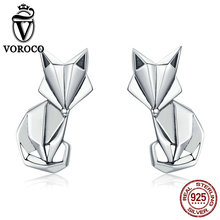 VOROCO Silver Jewelry 925 Sterling Tiny Stud Earrings Little Fox Animal For Women Fashion Luxury BKE526