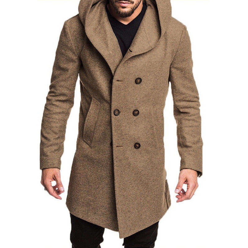 Winter Men's British Style Woolen Coat 2019 Brand Casual Solid Button Pockets Hooded   Trench   Coat Overcoat Long Jacket