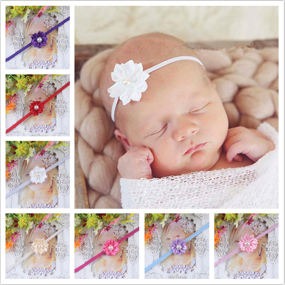 Kids Girl Baby Headband Toddler Pearl Flower Hair Band Baby Girls Headband